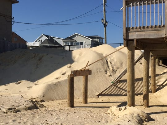 Stairs damaged by a January nor'easter in Ortley Beach