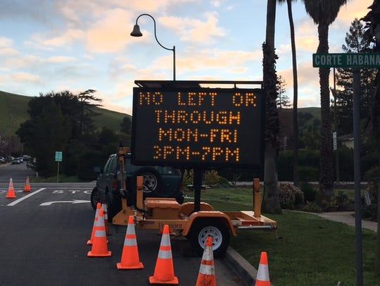 A sign warning drivers in Fremont, Calif. that they