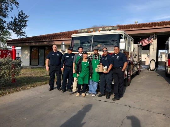 Baristas handed out coffee to firefighters at a Corpus