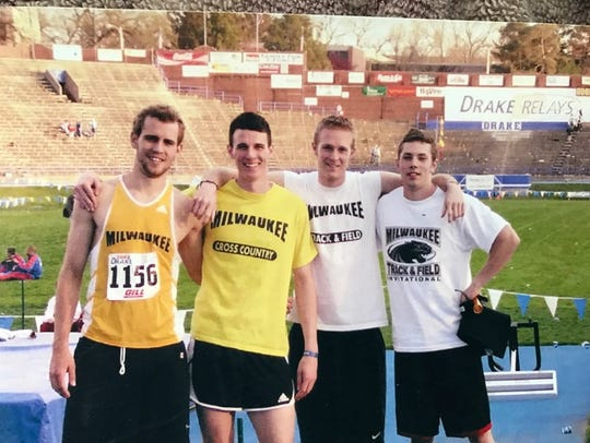 Nick Viall (left) with his 3,200-meter relay teammates