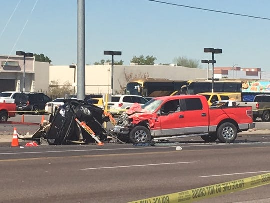 Police say one of the vehicles involved in this collision