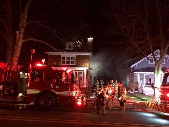 Firefighters battled a blaze Wednesday night on Ann