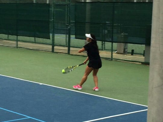 Thalita Rodridgues, a sophomore on the Seward (Kansas) Community College women's tennis team which competed in Pensacola the past weekend, has overcome a one-arm handicap to be one of the nation's top JUCO women's players.