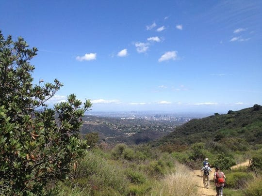 Hikers take on a trail in the Santa Monica Mountains.