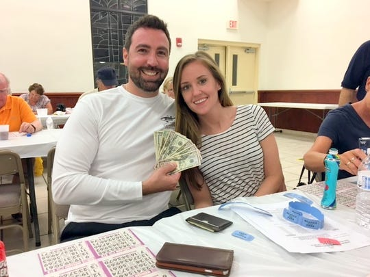 On Thursday, March 23, the Knights of Columbus San Marco Council #6344 hosted a Bingo fundraiser in the San Marco Parish Center. Above, the 50/50 drawing winner, Brian Harris of New York.