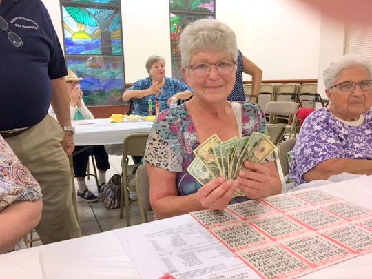 On Thursday, March 30, the Knights of Columbus San Marco Council #6344 hosted a Bingo Fundraiser in the San Marco Parish Center. Above, jackpot winner, Diane Nobis of Maine.