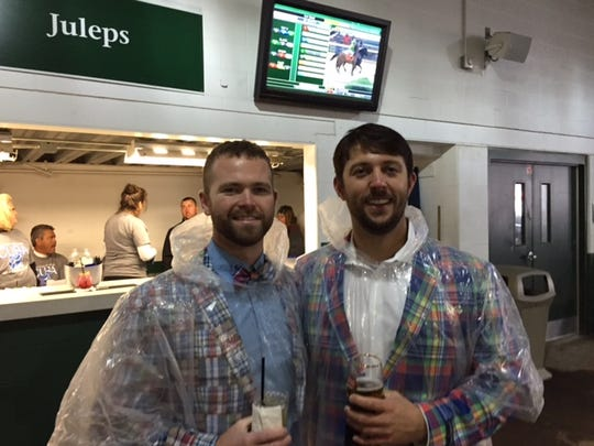 Scott Warren and Justin Kaat of Greensboro, North Carolina, came to the Derby for Warren's bachelor party.