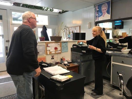 Karen Maynard of Hairport salon in Brockport speaks