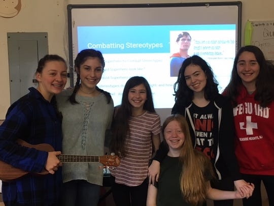 Pictured are Quest students Emily Schneider, Allison Mulvaney, Lauren Mulligan, Kelly Redmond, Megan Armstrong, and Isabella Critelli.