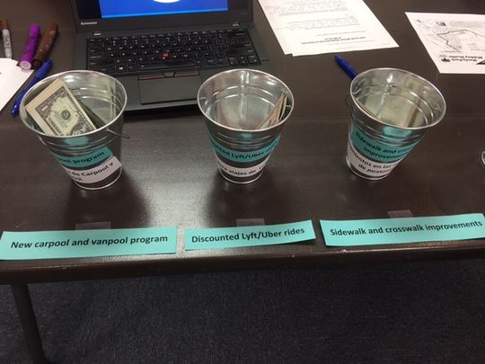 At a Simi Valley transit workshop Tuesday, members of the public used play money to indicate what their transit priorities are.