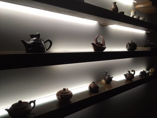 Teapots on display at Dao Restaurant.