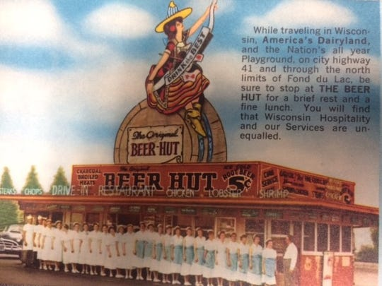 A replica of an old postcard of The Beer Hut.