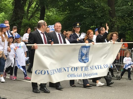 A delegation representing the government of the State of Israel marching in the Celebrate Israel parade in New York on Sunday, June 4, 2017.