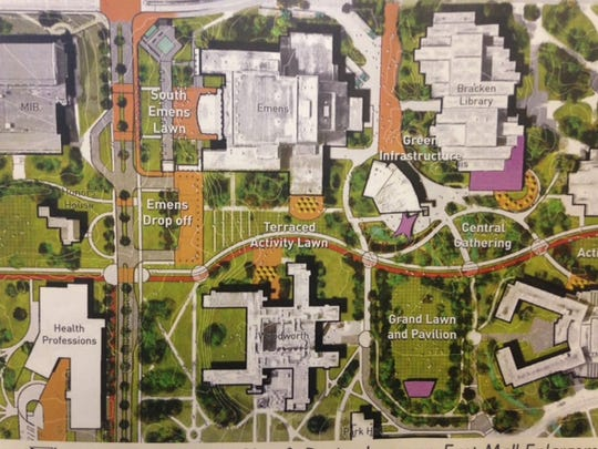 A campus master plan calls for a terraced lawn between Emens Auditorium and Woodworth Complex in the future.