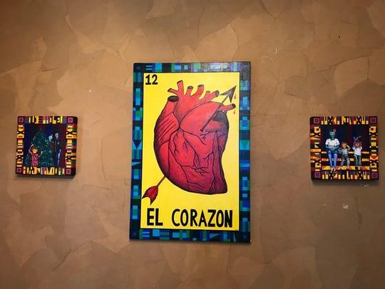 """El Corazon"" by Mayra Zamora is on display at the Tejano"