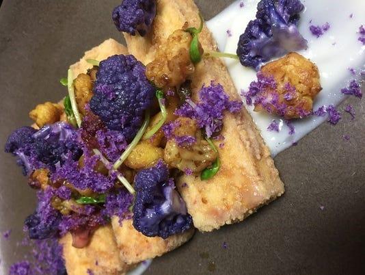 Crispy Tofu, Cauliflower puree, Marcona Almonds and Raisins