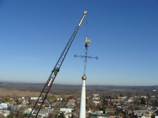 The removal of the steeple in 2010.