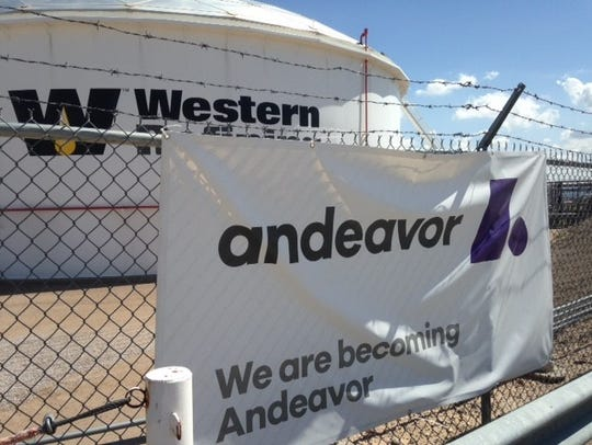 A banner with the new Andeavor name for the former