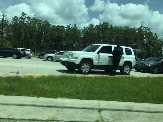 A white SUV and a silver Acura were involved in a minor