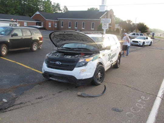 A Carroll County sheriff's car was damaged in the chase on Tuesday morning.