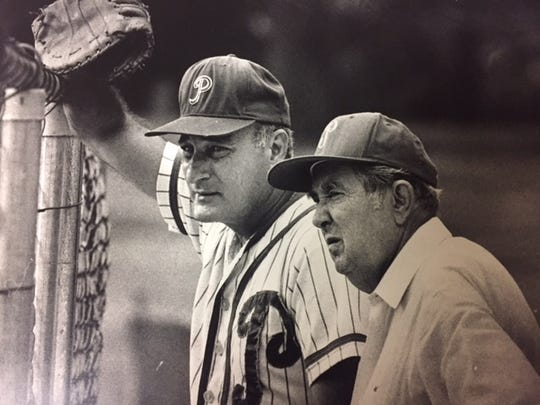 Delaware Sports Hall of Famers Bob Immediato (left) and his Parkway manager John Hickman in 1988.
