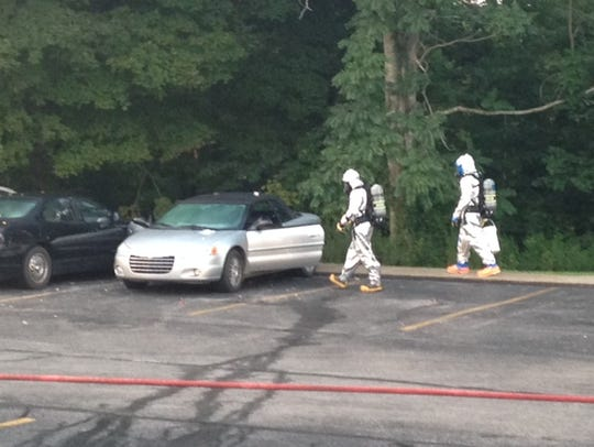 The county hazmat team responds after deputies with the Montgomery County Sheriff's Office discovered a mobile meth lab inside a car in an apartment complex.
