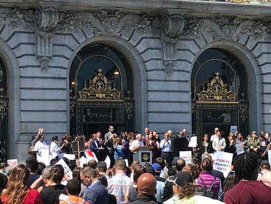 San Francisco Mayor Ed Lee and city leaders speak at