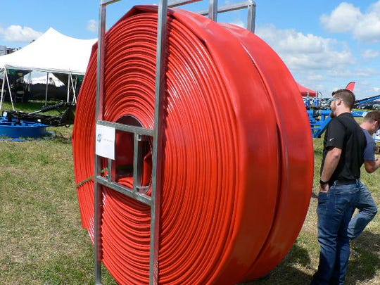 Manure movement by drag line has become popular. This reel of hose will go a long way.