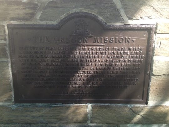The marker in Ithaca's DeWitt Park about the Oregon Mission.