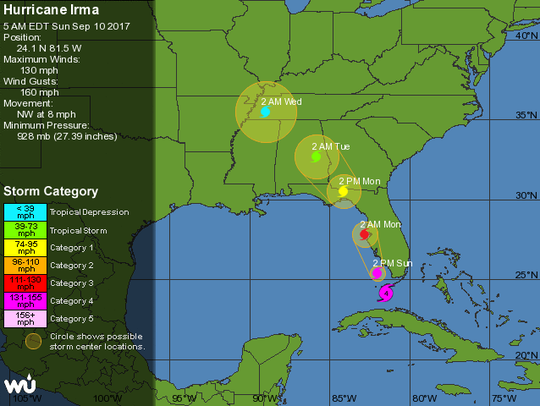 The 5 a.m. forecast track as prepared by Weather Underground.