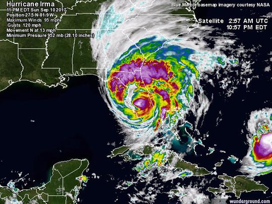 A satellite visualization from Weather Underground