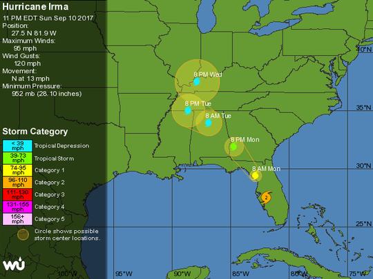 The 11 p.m. Hurricane Irma tracking map shows Tallahassee