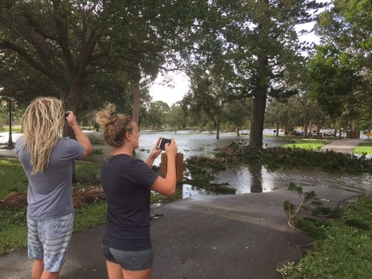 Brian and Annie Williams or Indian Harbor Beach took pictures Monday morning of a Gleason Park flooded by Hurricane Irma. The water had largely drained by the afternoon.