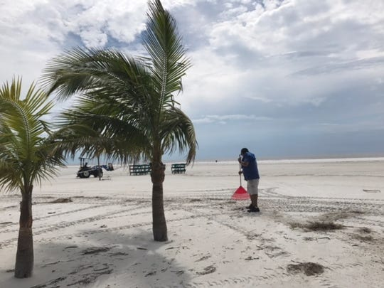 In this file photo, a crew rakes Hurricane Irma debris off a stretch of Fort Myers Beach near the Outrigger resort. With some exceptions, Beach hotels were ready for business as soon as power was restored.