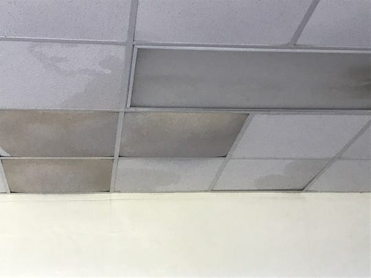 Water damage through the roof of Caloosa Middle School