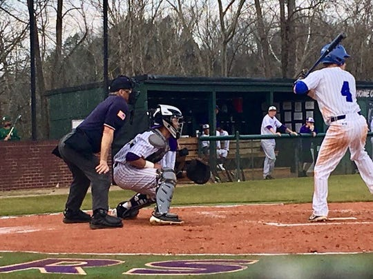 Catcher Noah Webb awaits a pitch during a Sevier County baseball game.