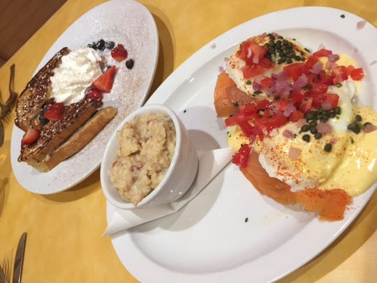 Wild Eggs' Lox and Bagel Bennie — smoked salmon, poached