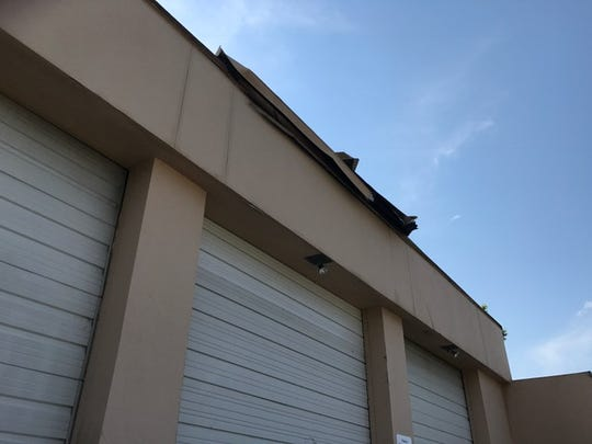 Damage to the roof caused by Hurricane Irma at Lehigh