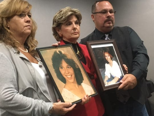 Gloria Allred (center), Cindy Arndt and Mark Borowski