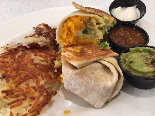 The Breakfast Burrito is a savory option at Anna's House in Kalamazoo.