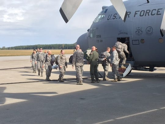 Members of the 179th and 178th Ohio Air National Guard units Wednesday deployed for Puerto Rico to provide hot meals to military members assisting with disaster relief.