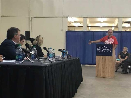The Metro Fair Board listens to a speaker at a meeting Thursday, Oct. 5, 2017, on a proposal to bring a Major League Soccer stadium to the fairgrounds site.