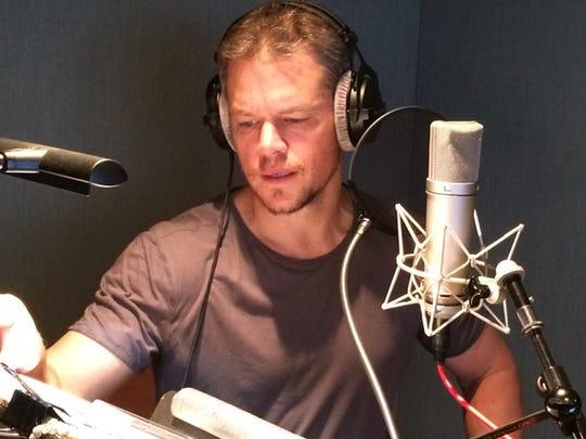 Actor Matt Damon recording narration for the new documentary
