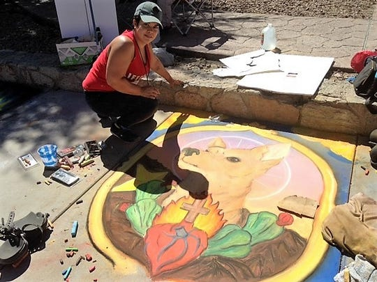 Ebonie Adame won second place in the emerging artists category at the Chalk the Block arts festival Saturday.