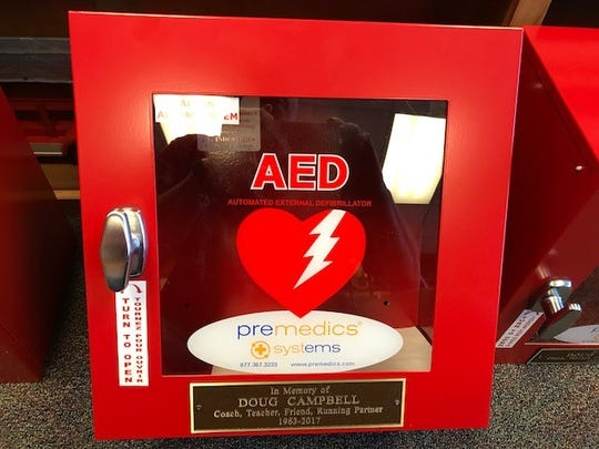 Five automated external defibrillators (AEDs) were recently placed at city parks in Brentwood. They were funded by friends of Doug Campbell, who died earlier this year after going into cardiac arrest while running at Crockett Park.