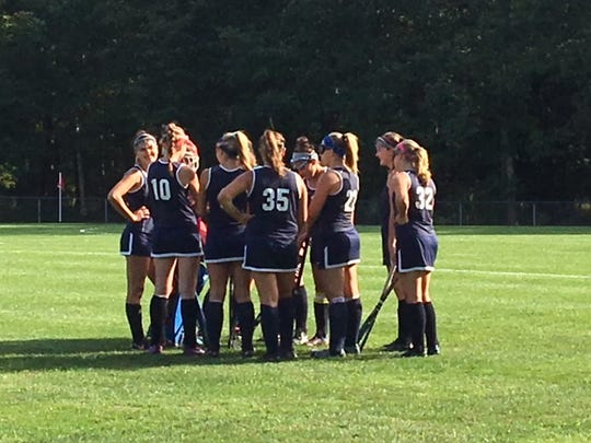 The Toms River North field hockey team gets ready to start play against Southern on Sep. 26, 2017