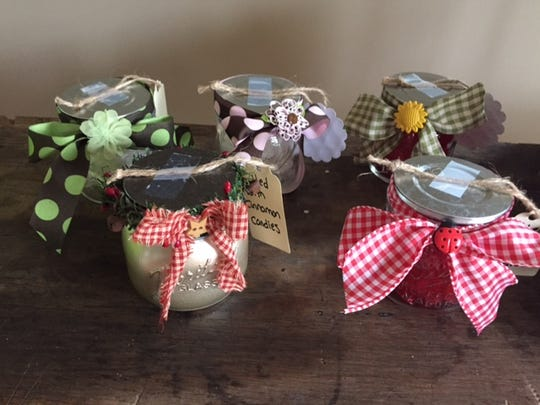 Decorative jars filled with candy.