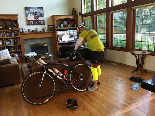 Heinz Ruch does a few last minute preparations before setting out from his Minnesota home.