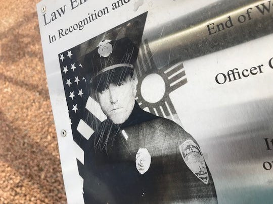 Officer Clint Corvinus' plaque was one of ten plaques vandalized at the Otero County Fallen Officer Memorial sometime between Monday and Tuesday morning.