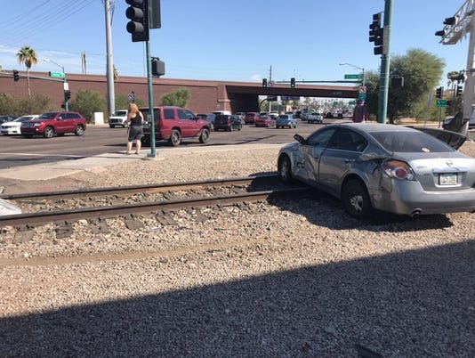 Car T-boned by train in Phoenix
